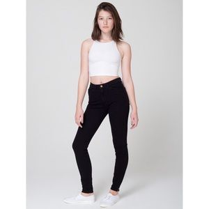 American Apparel High Rise Skinny Jeans Ankle Zip